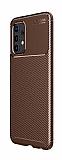 Eiroo Rugged Carbon Samsung Galaxy A32 4G Kahverengi Silikon Kılıf