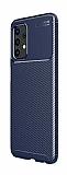 Eiroo Rugged Carbon Samsung Galaxy A32 4G Lacivert Silikon Kılıf