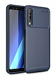 Eiroo Rugged Carbon Samsung Galaxy A7 2018 Lacivert Silikon Kılıf