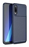 Eiroo Rugged Carbon Samsung Galaxy A70 Lacivert Silikon Kılıf