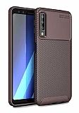 Eiroo Rugged Carbon Samsung Galaxy A9 2018 Kahverengi Silikon Kılıf
