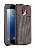 Eiroo Rugged Carbon Samsung Galaxy J2 Core Kahverengi Silikon Kılıf