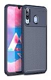 Eiroo Rugged Carbon Samsung Galaxy M30 Lacivert Silikon Kılıf