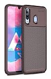 Eiroo Rugged Carbon Samsung Galaxy M30 Kahverengi Silikon Kılıf