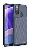 Eiroo Rugged Carbon Samsung Galaxy M30S Lacivert Silikon Kılıf