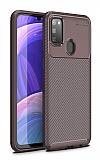 Eiroo Rugged Carbon Samsung Galaxy M30S Kahverengi Silikon Kılıf