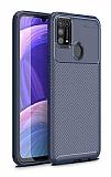 Eiroo Rugged Carbon Samsung Galaxy M31 Lacivert Silikon Kılıf