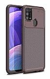 Eiroo Rugged Carbon Samsung Galaxy M31 Kahverengi Silikon Kılıf