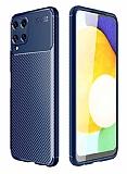 Eiroo Rugged Carbon Samsung Galaxy M32 Lacivert Silikon Kılıf