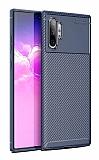 Eiroo Rugged Carbon Samsung Galaxy Note 10 Plus Lacivert Silikon Kılıf
