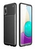 Eiroo Rugged Carbon Samsung Galaxy A02 Siyah Silikon Kılıf