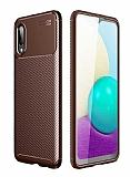 Eiroo Rugged Carbon Samsung Galaxy A02 Kahverengi Silikon Kılıf