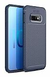 Eiroo Rugged Carbon Samsung Galaxy S10e Lacivert Silikon Kılıf