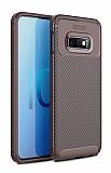 Eiroo Rugged Carbon Samsung Galaxy S10e Kahverengi Silikon Kılıf