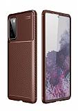 Eiroo Rugged Carbon Samsung Galaxy S20 FE Kahverengi Silikon Kılıf