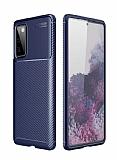 Eiroo Rugged Carbon Samsung Galaxy S20 FE Lacivert Silikon Kılıf
