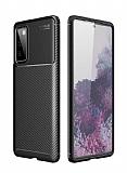Eiroo Rugged Carbon Samsung Galaxy S20 FE Siyah Silikon Kılıf