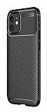 Eiroo Rugged Carbon iPhone 12 Mini 5.4 inç Siyah Silikon Kılıf