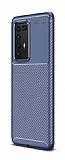 Eiroo Rugged Carbon Huawei P40 Pro Lacivert Silikon Kılıf