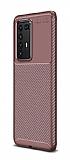 Eiroo Rugged Carbon Huawei P40 Pro Kahverengi Silikon Kılıf