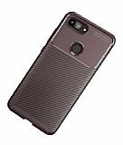 Eiroo Rugged Carbon Xiaomi Mi 8 Lite Kahverengi Silikon Kılıf