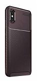 Eiroo Rugged Carbon Xiaomi Mi 8 Pro Kahverengi Silikon Kılıf