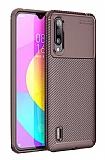 Eiroo Rugged Carbon Xiaomi Mi 9 Lite Kahverengi Silikon Kılıf