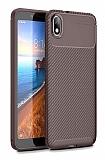 Eiroo Rugged Carbon Xiaomi Redmi 7A Kahverengi Silikon Kılıf