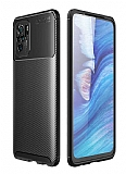 Eiroo Rugged Carbon Xiaomi Redmi Note 10 Siyah Silikon Kılıf
