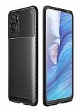 Eiroo Rugged Carbon Xiaomi Redmi Note 10S Siyah Silikon Kılıf
