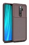 Eiroo Rugged Carbon Xiaomi Redmi Note 8 Pro Kahverengi Silikon Kılıf