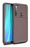Eiroo Rugged Carbon Xiaomi Redmi Note 8 Kahverengi Silikon Kılıf