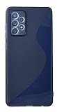 Eiroo S Line Samsung Galaxy A52 / Galaxy A52 5G Mavi Silikon Kılıf