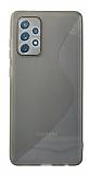 Eiroo S Line Samsung Galaxy A52 / Galaxy A52 5G Gri Silikon Kılıf