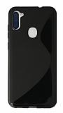 Eiroo S Line Samsung Galaxy A11 / Galaxy M11 Siyah Silikon Kılıf