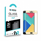 Eiroo Samsung Galaxy A3 2016 Curve Tempered Glass Gold Full Cam Ekran Koruyucu
