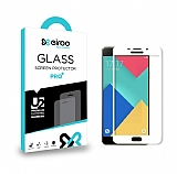 Eiroo Samsung Galaxy A3 2016 Curve Tempered Glass Beyaz Full Cam Ekran Koruyucu