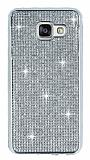 Eiroo Samsung Galaxy A3 2016 Taşlı Silver Silikon Kılıf