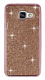 Eiroo Samsung Galaxy A3 2016 Taşlı Rose Gold Silikon Kılıf