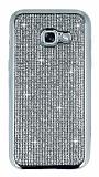 Eiroo Samsung Galaxy A3 2017 Taşlı Silver Silikon Kılıf