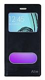 Eiroo Samsung Galaxy A5 2016 Gizli Mıknatıslı Çift Pencereli Siyah Deri Kılıf