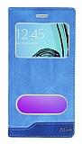Samsung Galaxy A5 2016 Gizli Mıknatıslı Çift Çerçeveli Mavi Deri Kılıf