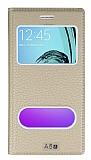 Eiroo Samsung Galaxy A5 2016 Gizli M�knat�sl� �ift Pencereli Gold Deri K�l�f