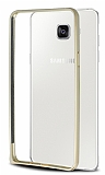 Eiroo Samsung Galaxy A5 2016 Gold Çizgili Round Metal Bumper Çerçeve Gold Kılıf