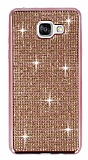 Eiroo Samsung Galaxy A5 2016 Taşlı Rose Gold Silikon Kılıf