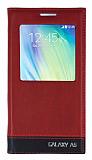 Samsung Galaxy A5 Gizli Mıknatıslı Uyku Modlu Bordo Kılıf