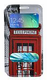 Samsung Galaxy A3 Gizli Mıknatıslı Pencereli London Deri Kılıf