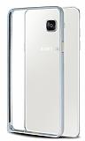 Eiroo Samsung Galaxy A7 2016 Gold Çizgili Round Metal Bumper Çerçeve Silver Kılıf