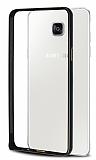 Eiroo Samsung Galaxy A7 2016 Gold Çizgili Round Metal Bumper Çerçeve Siyah Kılıf