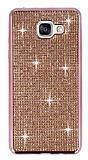 Eiroo Samsung Galaxy A7 2016 Taşlı Rose Gold Silikon Kılıf
